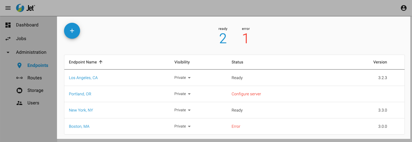 The Endpoints menu displays endpoints registered to your account.