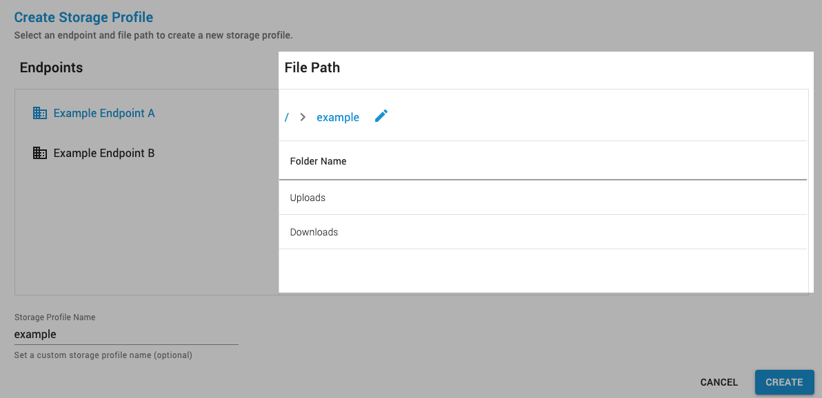 You can browse or directly specify a path using the storage location list on the right side of the New Job page